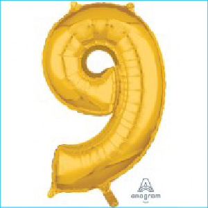 Number 9 Gold Mid Size Shape 66cm
