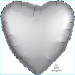 Satin Luxe Silver Heart 45cm
