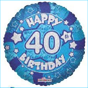 Blue 40th Holographic 45cm Foil Balloon