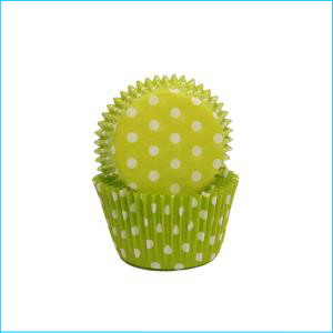 Lime/White Polka Dot Medium Patty Pans