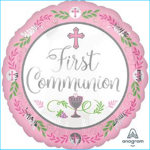 First Communion Day Pink Foil Balloon