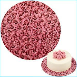 """Cake Board 12"""" Pink Roses Print Pk3"""