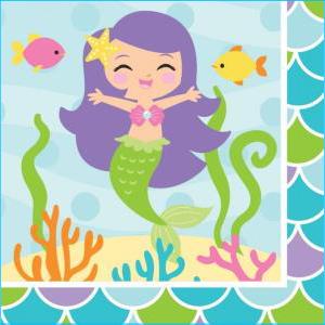 Mermaid And Friends Beverage Napkin PK16