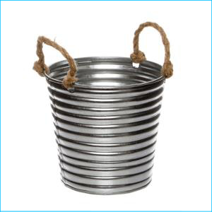 Rustic Metal Tin Bucket Rope Handles