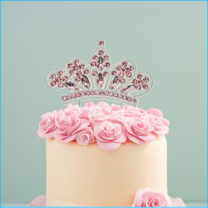 Diamante Pink Crown Cake Topper