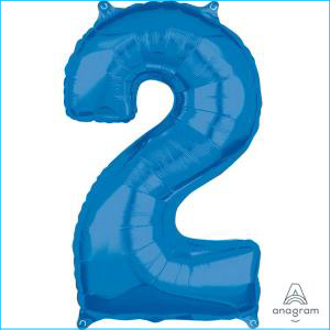Number 2 Blue Mid Size Foil Balloon 66cm