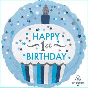 1st Bday Blue Cupcake 45cm Foil Balloon
