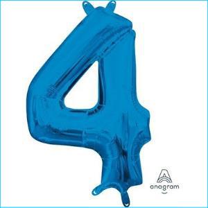 Anagram Blue Number 4 Foil Balloon 91cm