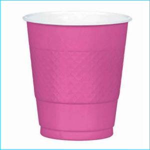 Bright Pink Plastiic Cups 355ml 20pk