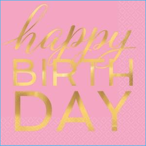 Pink & Gold Happy Bday Lunch Napkin 16Pk