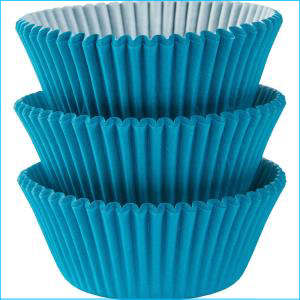 Mini Cupcake Cases Caribbean Blue 100Pk