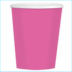 Bright Pink Paper Cups pk20