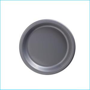 Silver Plastic Plates 22.9cm pk20