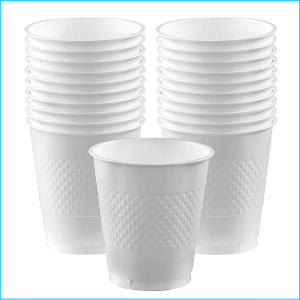 Frosty White Plastic Cup pk20