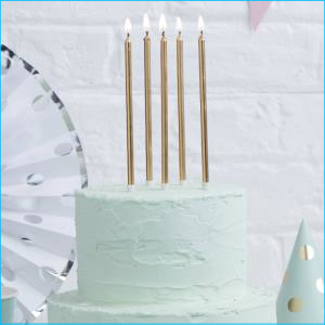 Tall Gold Cake Candle 12Pk