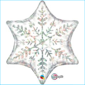 6 Point Star Holographic Silver 55cm