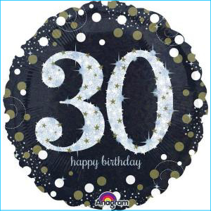 Holographic Sparkling Birthday 30 Foil