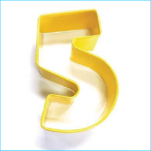 Cookie Cutter Number 5 Yellow
