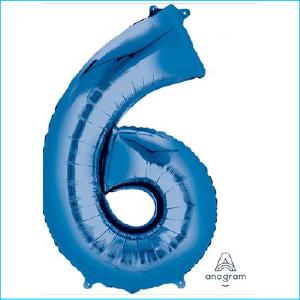 Foil 86cm Blue Number 6