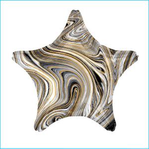 Foil 45cm Star Marble Black, White & Gol