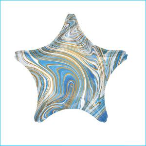 Foil 45cm Star Marble Blue, White & Gold