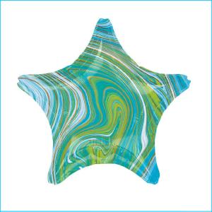 Foil 45cm Star Marble Blue, Green & Gold