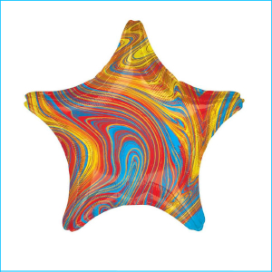 Foil 45cm Star Marble Blue, Red & Yellow