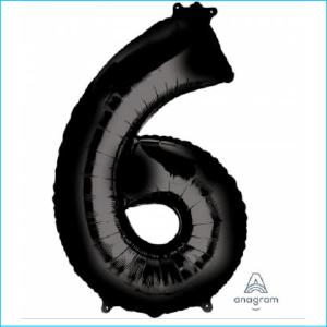 Foil 86cm Black Number 6