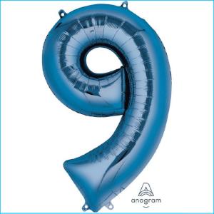 Foil 86cm Blue Number 9