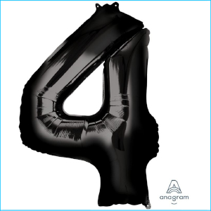 Foil 86cm Black Number 4