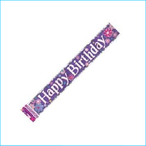 Happy Birthday Blossom Foil Banner 3.65m