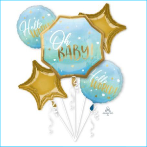 Balloon Bouquet Oh Baby Blue & Gold