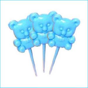 Cupcake Topper Blue Teddy Bear Pk 18