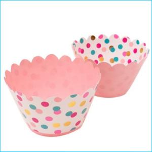 Cupcake Wrap Pink, Gold, Turquoise Dot