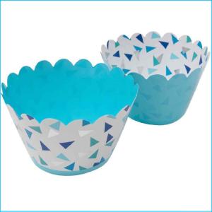 Cupcake Wrap Blue & Silver Triangles Pk