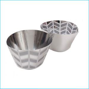 Cupcake Wrap Silver Geometric Pk 12