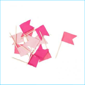 Cupcake Topper Assorted Pink Flag Pk 12