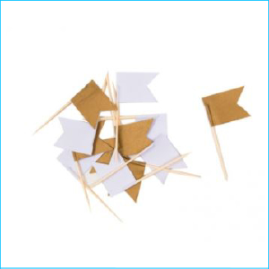 Cupcake Topper Assorted Gold Flag Pk 12
