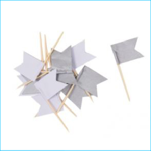 Cupcake Topper Assorted Silve Flag Pk 12