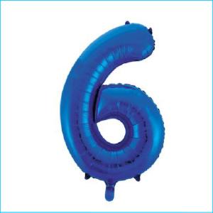 Foil 86cm Blue Number 6 Meteor