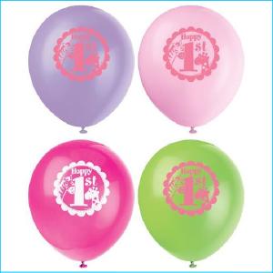 Latex Balloon Pack Happy 1st Safari Pink