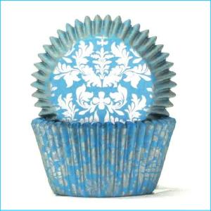 Patty Pan Medium 408 Blue Silver Damask