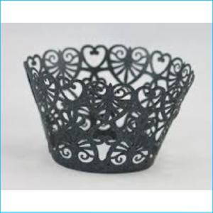 Cupcake Wrap Black Heart Design Pk 12