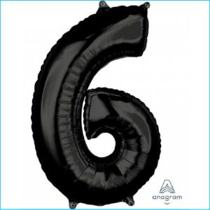 Foil 66cm Black Number 6