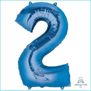 Foil 86cm Blue Number 2