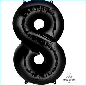 Foil 86cm Black Number 8