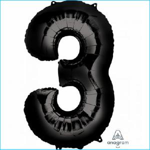 Foil 86cm Black Number 3