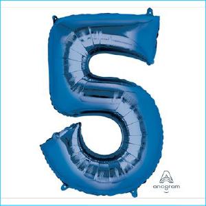 Foil 86cm Blue Number 5