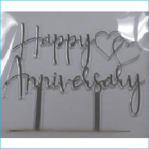 Cake Topper Happy Anniversary Silver