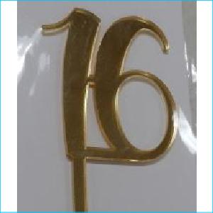 Cake Topper Gold Number 16